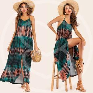 GREEN WITH ENVY Tie Dye Halter Maxi Dress